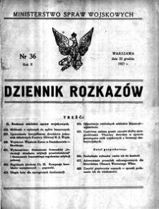 Dziennik Rozkazów, 1927, R. 10, nr 36