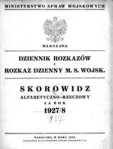 Dziennik Rozkazów, 1927, R. 10, Skorowidz