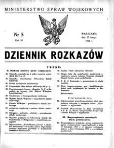 Dziennik Rozkazów, 1928, R. 11, nr 5