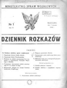 Dziennik Rozkazów, 1928, R. 11, nr 1