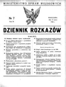 Dziennik Rozkazów, 1928, R. 11, nr 7