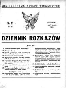 Dziennik Rozkazów, 1928, R. 11, nr 22