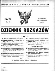Dziennik Rozkazów, 1928, R. 11, nr 26