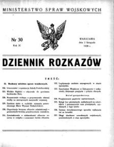 Dziennik Rozkazów, 1928, R. 11, nr 30