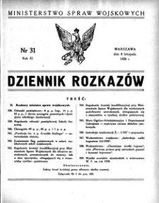 Dziennik Rozkazów, 1928, R. 11, nr 31