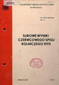 Surowe wyniki czerwcowego spisu rolniczego 1970