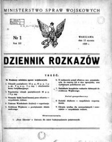 Dziennik Rozkazów, 1929, R. 12, nr 1
