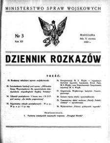 Dziennik Rozkazów, 1929, R. 12, nr 3