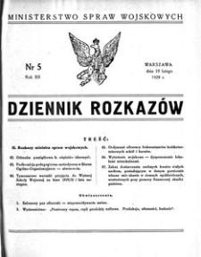 Dziennik Rozkazów, 1929, R. 12, nr 5