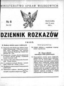 Dziennik Rozkazów, 1929, R. 12, nr 8