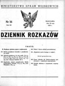 Dziennik Rozkazów, 1929, R. 12, nr 16