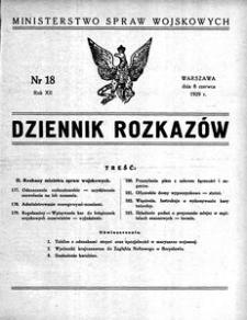 Dziennik Rozkazów, 1929, R. 12, nr 18