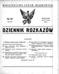 Dziennik Rozkazów, 1929, R. 12, nr 19