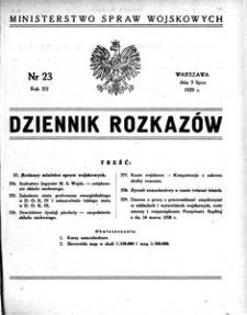 Dziennik Rozkazów, 1929, R. 12, nr 23