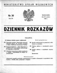 Dziennik Rozkazów, 1929, R. 12, nr 30