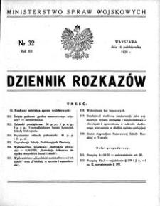 Dziennik Rozkazów, 1929, R. 12, nr 32