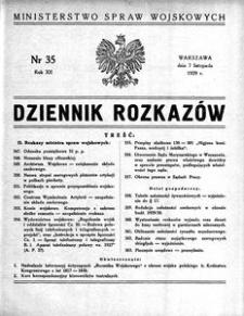 Dziennik Rozkazów, 1929, R. 12, nr 35