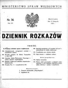 Dziennik Rozkazów, 1929, R. 12, nr 36