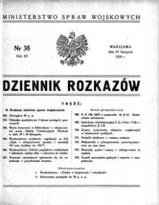 Dziennik Rozkazów, 1929, R. 12, nr 38
