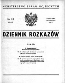 Dziennik Rozkazów, 1929, R. 12, nr 41
