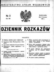 Dziennik Rozkazów, 1930, R. 13, nr 2