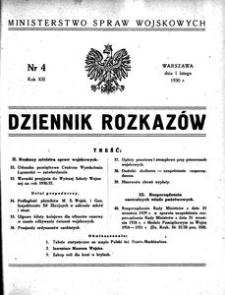 Dziennik Rozkazów, 1930, R. 13, nr 4