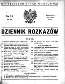 Dziennik Rozkazów, 1930, R. 13, nr 14
