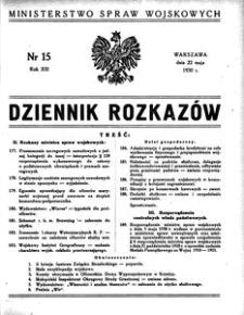 Dziennik Rozkazów, 1930, R. 13, nr 15