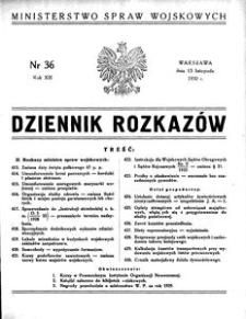 Dziennik Rozkazów, 1930, R. 13, nr 36