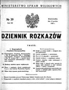Dziennik Rozkazów, 1930, R. 13, nr 39