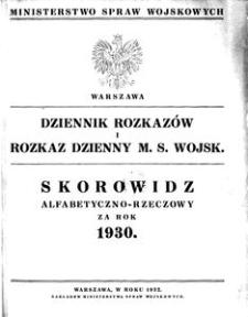 Dziennik Rozkazów, 1930, Skorowidz alfabetyczno-rzeczowy za rok 1930