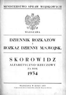 Dziennik Rozkazów, 1934, Skorowidz alfabetyczno-rzeczowy za rok 1934