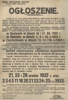 Ogłoszenie. [Inc. wszystkie pojazdy mechaniczne przeznaczone do użytku publicznego winny być z końcem roku bieżącego przedstawione do badania Komisji Rejestracyjnej Urzędu Wojewódzkiego, celem uzyskania przedłużenia ważności dowodu rejestracyjnego na rok 1933 ...] : Kielce, dnia 16 grudnia 1932 r.