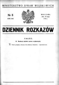 Dziennik Rozkazów, 1936, R. 19, nr 8