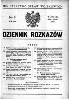 Dziennik Rozkazów, 1936, R. 19, nr 9