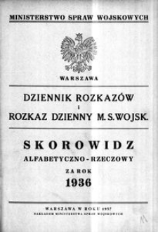 Dziennik Rozkazów, 1936, Skorowidz alfabetyczno-rzeczowy za rok 1936