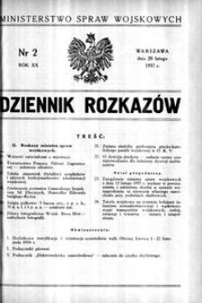 Dziennik Rozkazów, 1937, R. 20, nr 2