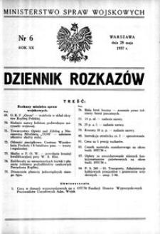 Dziennik Rozkazów, 1937, R. 20, nr 6