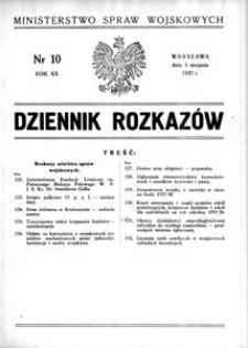 Dziennik Rozkazów, 1937, R. 20, nr 10