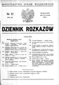 Dziennik Rozkazów, 1937, R. 20, nr 12