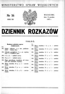 Dziennik Rozkazów, 1937, R. 20, nr 16