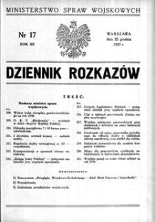 Dziennik Rozkazów, 1937, R. 20, nr 17