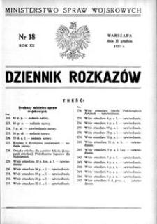 Dziennik Rozkazów, 1937, R. 20, nr 18