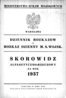 Dziennik Rozkazów, 1937, Skorowidz alfabetyczno-rzeczowy za rok 1937