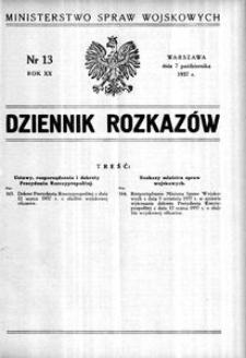 Dziennik Rozkazów, 1937, R. 20, nr 13