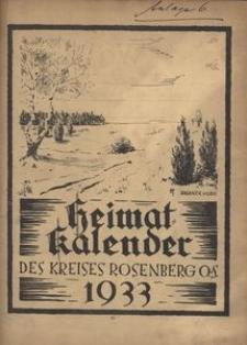 Heimat-Kalender des Kreises Rosenberg OS, 1933