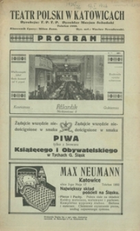 """Teatr Polski w Katowicach. Dyrekcja T. P.T.P. Dyrektor Marjan Sobański. Program. """"Madame Butterfly"""". Opera w 3 aktach Giacomo Pucciniego"""