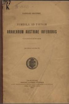 Symbola ad faunam aranearum Austriae Inferioris cognoscendam