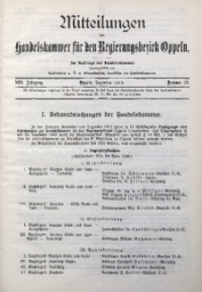Mitteilungen der Handelskammer für den Regierungsbezirk Oppeln, 1913, Jg. 19, Nr. 12