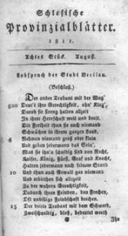 Schlesische Provinzialblätter, 1811, 54. Bd., 8. St.: August